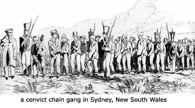 a  convict chain gang in Sydney, New South Wales