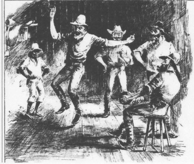 This image from the Sydney Illsutrated News shows the bushman dancing a solo dance, possibly a hornpipe, to the strains of the concertina.